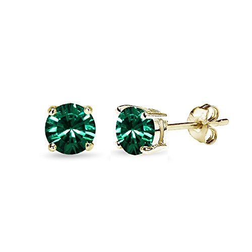 Yellow Gold Flashed Sterling Silver 5mm Round Green Stud Earrings created with Swarovski Crystals