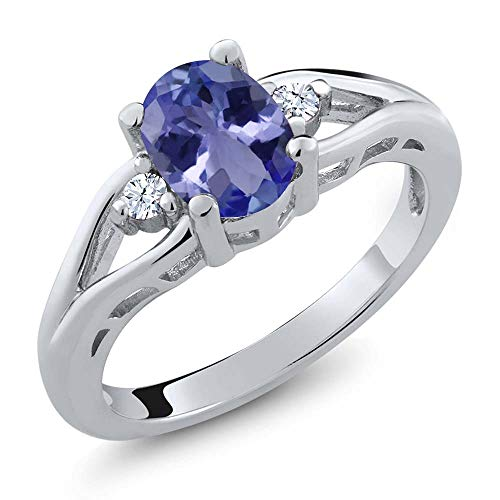 Gem Stone King 1.22 Ct Oval Blue Tanzanite 925 Sterling Silver 3 Stone Ring (Size ()