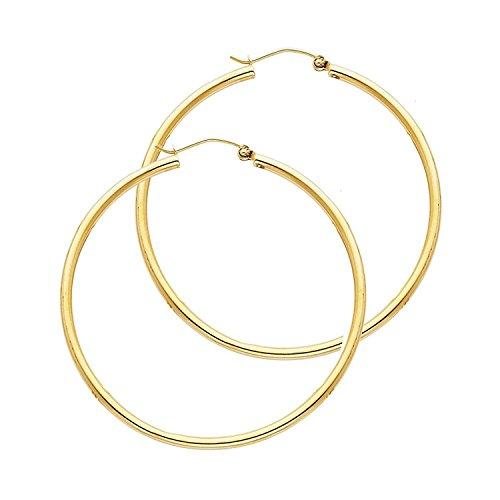 Boucles d'oreilles créoles or jaune 750/1000(18cts) brillant-Grande au choix