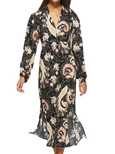 SNRC FEMLE Women Boho Tribal Paisley Graphic Print Deep V Neck Long Sleeve Midi Dress Black
