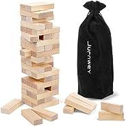 Wooden Blocks 54 Pieces Hardwood Block with Storage Bag Organizer Stacking Tower Game for Wedding/Graduation/F