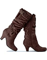 Guilty Heart - Womens Comfortable Winter Strappy Slouchy Buckle Low Heel Boots
