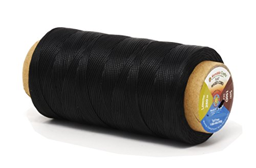 Mandala Crafts 150D 210D 0.8mm 1mm Leather Sewing Stitching Flat Waxed Thread String Cord (150D 0.8mm 250M, Black)