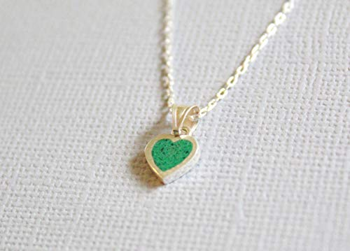 Malachite Heart-Shaped Gemstone Mosaic Sterling Silver Necklace 16.1'' to 17.7 inches, Adjustable Chain, Semi Precious Stone