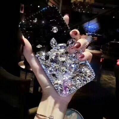 P20 Protettiva 3d amp; Custodia Mano Trasparente Bling Diamante Cristallo Silicone Strass A Cover Fatto Bianca Per Brillante Nero Huawei lusso Paraurti Shinyzone Morbido rosa qA6wx1FEq