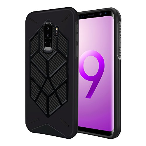 Lartin Rugged Armor Cool Shield Twill Pattern Dual Layer with Flexible and Slim Shock Absorption Case for Samsung Galaxy S9 Plus (Black)