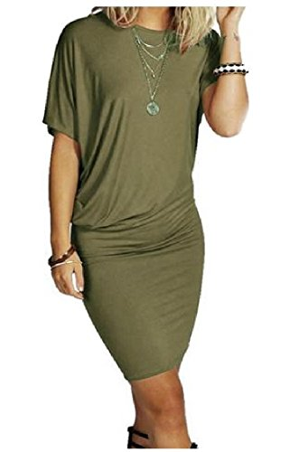 Comfy Women's Short Sleeve Solid Bodycon Crewneck Mini Chic Dress Army Green - Dress Short Sleeve Chic Mini