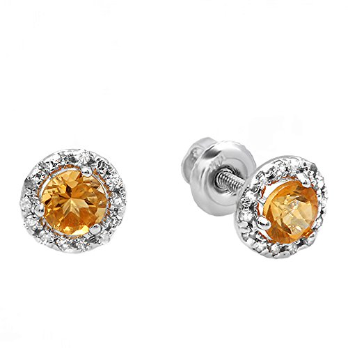 10K White Gold Round Deep Yellow Citrine & Diamond Halo Stud Earrings - Citrine Clip
