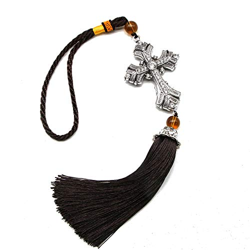 (JETEHO Crystal Cross Jesus Christian Car Rear View Mirror Car Pendant Hanging with Tassel Lucky Safety Hanging Ornament Gift)