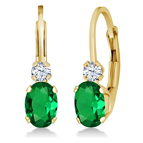 Gem Stone King 0.88 Ct Oval Green Simulated Emerald White Created Sapphire 14K Yellow Gold Earrings