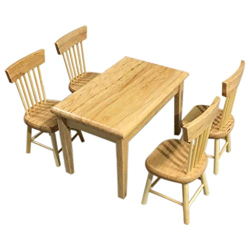 DDLmax 5PCS/Set 1:12 Dollhouse Miniature Furniture Wooden Color Dining Table Chair Model Set from DDLmax