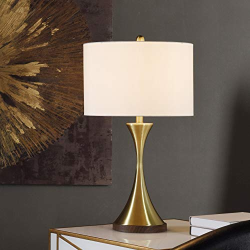 Michelle Brushed Brass Table Lamp - White ()