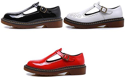 3 Dadawen Red 1 Big 37 Femme Rouge Bas Mary Janes Appartements Chaussures Talon Pour Taille PPfw6r