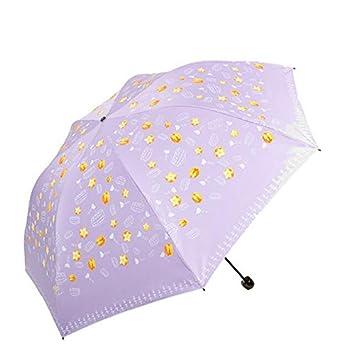 paraguas Sombra negro de seda de seda pantalla de frutas tres pliegues champiñón lápiz paraguas soleado paraguas sombrilla (Color : B) : Amazon.es: ...