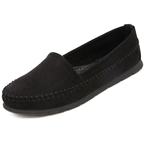 Meeshine Womens Flats Comfort Slip On Casual Driving Loafers Black 8 US