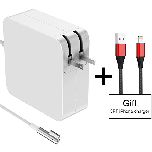 Macbook Pro Charger 60W Magsafe L-Tip MAC Power Adapter, Replacement Laptop AC Adapter For MacBook and 13-inch Macbook Pro (Before Mid 2012 Models) + 3FT/2A USB Charging Cable For iPhone (Free Gift) (Charger Pro 2010 Mac)