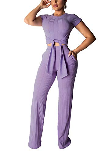 Sexy Two Piece Outfits for Women Clubwear Pants - Short Sleeve Ribbed Knit Bodycon Slim Crop Top Palazzo Wide Leg High Waist Pants Set Party Club Night Purple, Large
