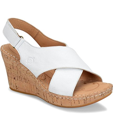 Born Slingbacks (Born Women's Henning Leather Criss-Cross Slingback Cork Wedge Sandal (6, White))