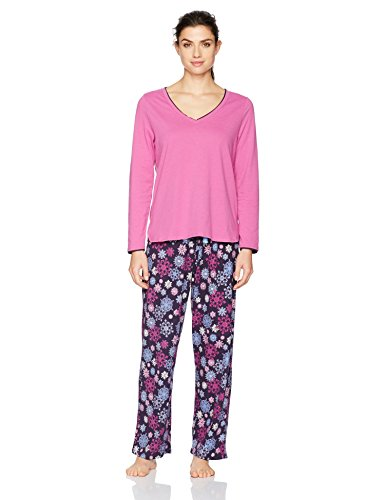 - Jockey Women's Knit Vneck Top Pajama Set, Falling Snowflakes, M