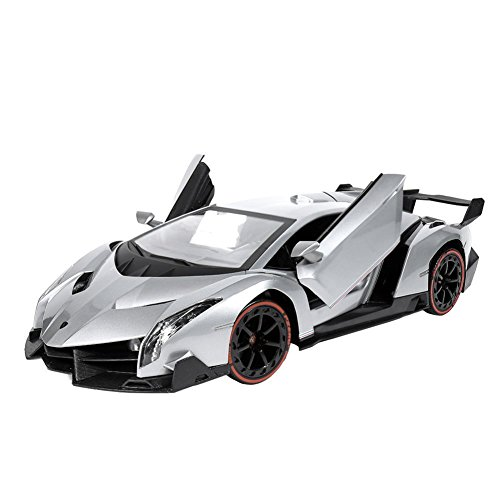 RW Radio Remote Control Lamborghini Veneno 1/14 Scale Sport Racing RC Car with Control Lever ,Silver (Radio Controlled Cars For Adults compare prices)