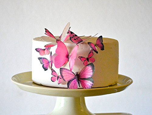 Cake Butterfly Decorating (Edible Butterflies © - Assorted Pink Set of 15 - Cake and Cupcake Toppers, Decoration)