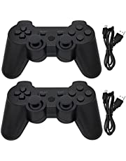 Ceozon PS3 Controller Wireless 2 Pack Playstation 3 Controller Bluetooth Gamepad Compatible for Sony PS3 Controller Wireless Remote Joystick with Charging Cables Black and Black