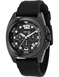 DKNY Men's NY1445 Black Rubber Quartz Watch with Black Dial