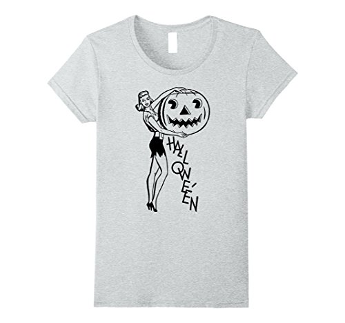 Pinup Halloween (Womens Halloween Pin Up Shirt Vintage Retro Sexy Woman T-Shirt Large Heather Grey)