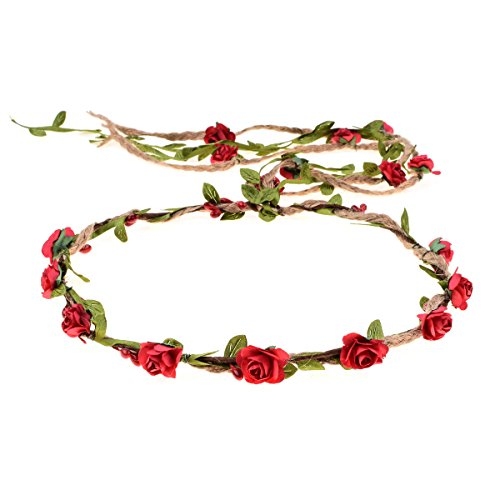 DDazzling Flower Crown Floral Wreath Headband Floral Garland Headbands photo props (Red) - Hair Care Diva
