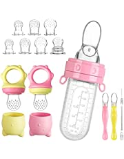 Lictin Baby Feeding Set, Toddler Utensils, Baby Feeding Spoon, Ustensile Bebe, Baby Pacifier, Baby Food Feeder, Teether Fruit Pacifier, Baby Fruit Feeder, Hot Safety Spoon, Squeeze Spoon with Fresh Silicone Bottle, Feeding Supplies (12PCS)
