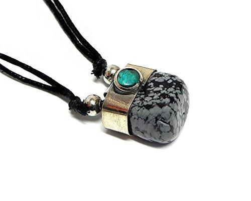 Mia Jewel Shop Tumbled Healing Gemstone Pendant Round Chrysocolla Stone Adjustable Necklace (Black/Grey Snowflake Obsidian)