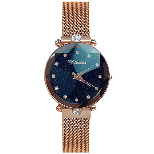 - RORIOS Fashion Analogue Quartz Watches Magnetic Mesh Band Starry Sky Dial Simulated Diamond Wrist Watches for Girl/Women