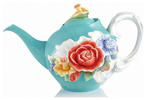 - FZ02611 Franz Porcelain Versailles Garden Rose Design Sculptured Teapot 10X5-3/4X6-1/4 inches Beautiful