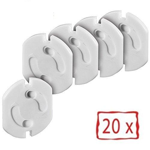Offgridtec 0003-78114-20er - Protector de enchufes con mecanismo de giro (20 unidades) color blanco