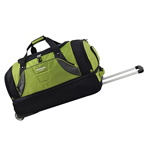 travelers-club-luggage-30-2-section-drop-bottom-rolling-duffel-green