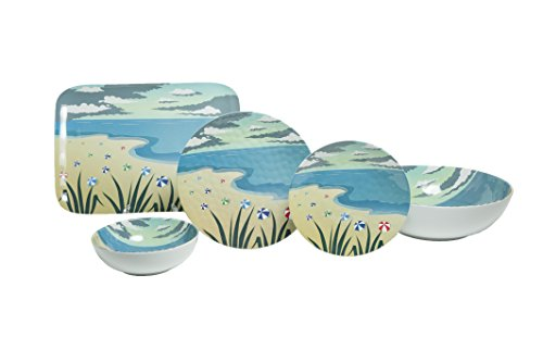 Galleyware Company Seaside 14 Piece Melamine Dinnerware Set (Service for 4), Multicolor