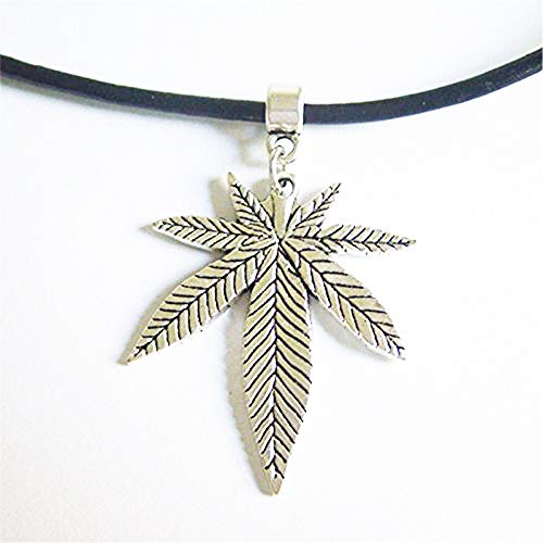 Vintage Black Real Leather Weed Leaf Chain Choker Necklace Pendants-Choker Necklace--Silver Plated Pendant-Alloy Short Necklace Woman Fashion Jewelry lady Gift