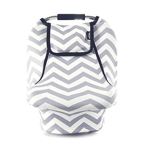Stretchy Baby Car Seat Covers For Boys Girls, Infant Car Canopy for Spring Autumn Winter,Snug Warm Breathable Windproof, Zipped Peep Window,Universal Fit, Grey White chevron -Patented - Seat For Car Canopy Baby