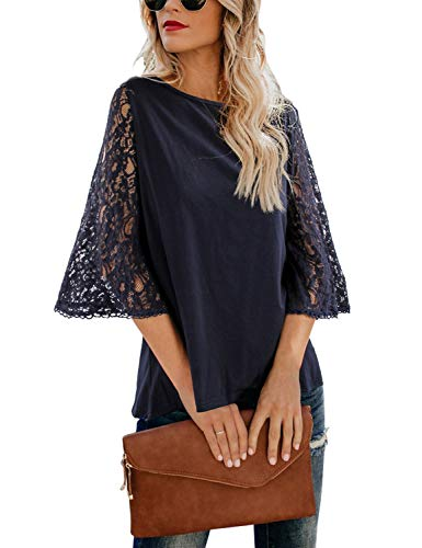 BMJL Women's Elegant Lace Shirt Knit Top Loose Blouse 3 Quarter Sleeve Tee Tunics (Large, Blue02) ()