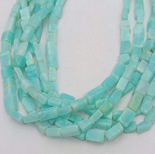 - 50% Off Kalisa Gems Natural Peruvian Opal Smooth Rectangle Cube Shaped Beads,Sky Blue Color Beads, Good Quality, 3x6 mm - 7x10 mm Approx,13.5