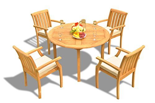 (New 5 Pc Luxurious Grade-A Teak Wood Outdoor Dining Set - 48