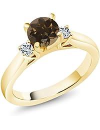 1.08Ct Brown Smoky Quartz White Topaz 18K Yellow Gold Plated Silver 3-Stone Ring