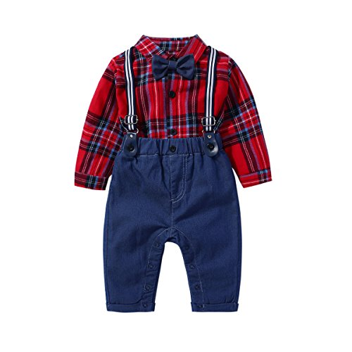 (Baby Boys Gentleman Bowtie Red Plaid Shirt and Blue Bib Pants Outfits Suits,Toddler Infant Suspender Overalls Clothes Sets)