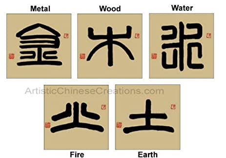 Amazon Chinese Calligraphy Symbols 5 Fengshui Elements Metal