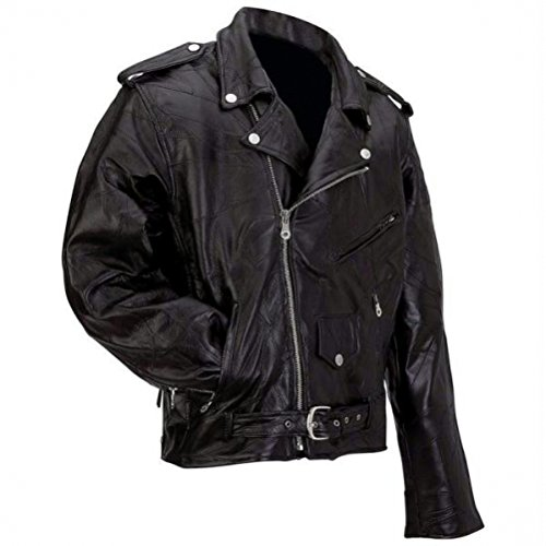 Diamond Plate Rock Design Genuine Buffalo Leather Motorcycle Jacket, Black, 7X