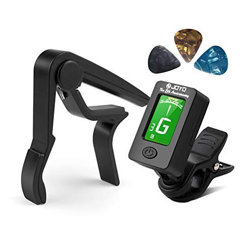 BROTOU Guitar Tuner Clip-On Tuner Digital Electronic Tuner Acoustic with LCD Display for Guitar, Bass, Violin, Ukulele (3 PCS Picks Included) (Tuner + Capo)