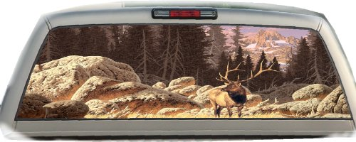 (Elk in Mountains- 22 Inches-by-65 Inches- Rear Window Graphics)