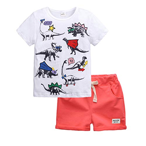 - Toddler Boys Summer Cotton Shirts Tee and Short Pants Set Cartoon Dinosaur Printings Clothing Sets(DX001R0,3T)