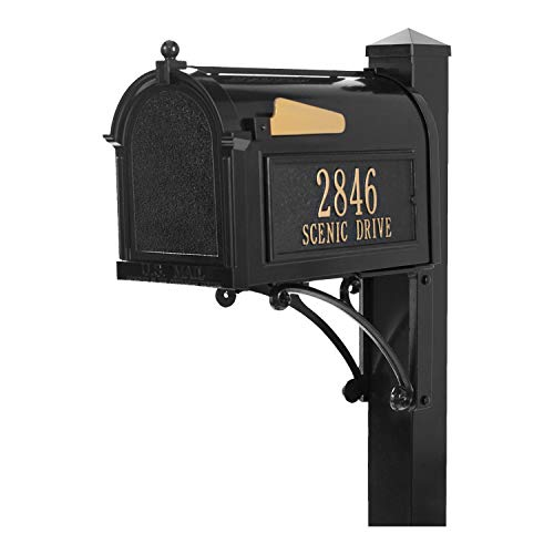 Whitehall Products Personalized Superior Mailbox Package (Black, 16308) with Large Box and 54