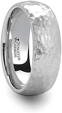 Adrian Tungsten Carbide Ring with Black and Red Carbon Fiber and Red Diamond Setting with Bevels 8mm